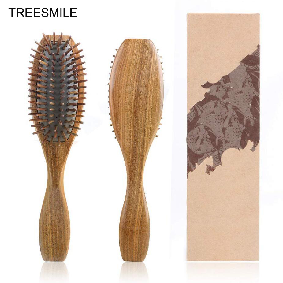 Sandalwood Hair Brush Wooden Natural Handmade Detangling Massage Hair Comb With Gift Box D10