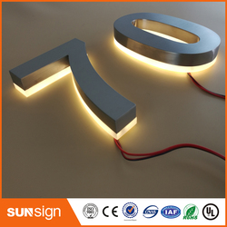 cheap backlit brushed stainless steel letter led sign