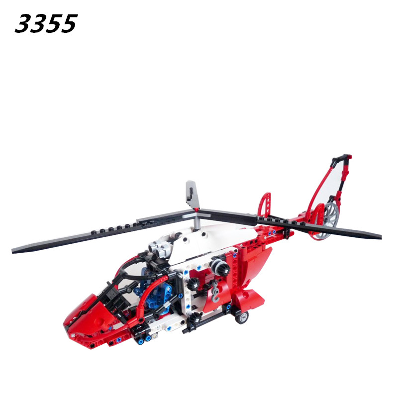 AIBOULLY New 3355 3356 Technic AeroKing Rescue Helicopter building bricks blocks Toys for children Compatible with  8068
