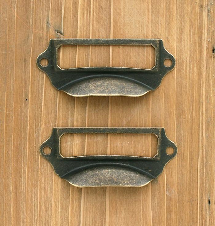 69*29MM Antique Brass Filing Cabinet Hardware Label Frame Cup Pull ...