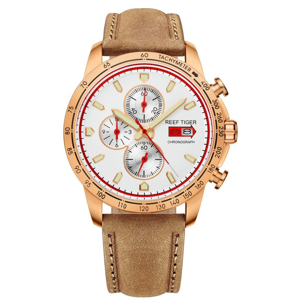 Reef Tiger/RT Sport Watch for Men Chronograph Quartz Watches with Date Rose Gold Watch with Luminous  Markers RGA3029Reef Tiger/RT Sport Watch for Men Chronograph Quartz Watches with Date Rose Gold Watch with Luminous  Markers RGA3029