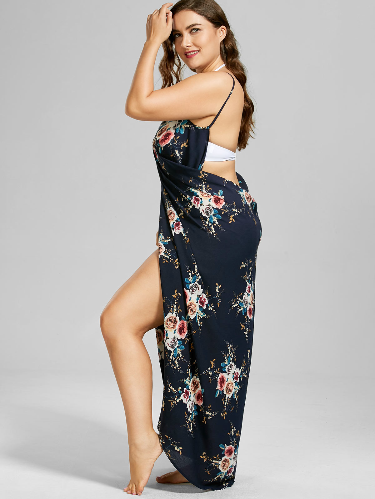 1ea711cf48 2019 Gamiss Plus Size 2018 Tiny Floral Beach Print Wrap Slip Dress ...
