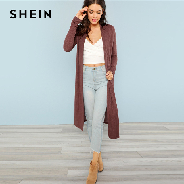 7b89cc7dc977 SHEIN Blossom Embroidered Bishop Sleeve Cardigan Autumn Collarless Long  Sleeve Women Tops Fashion Longline Cardigan