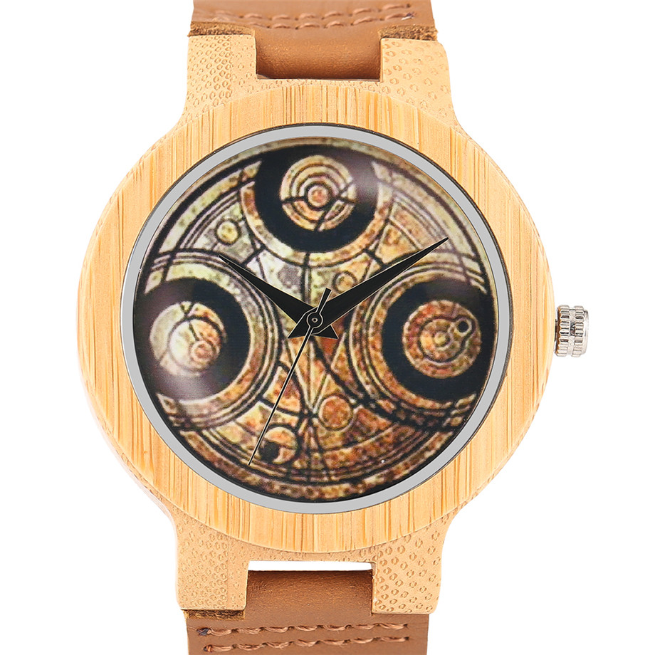 Casual Wooden Watch Dr. Who Ancient Magic Circle Dial Simple Men Women Sport Bamboo Wristwatch TV Fans Clock relogio masculino (4)