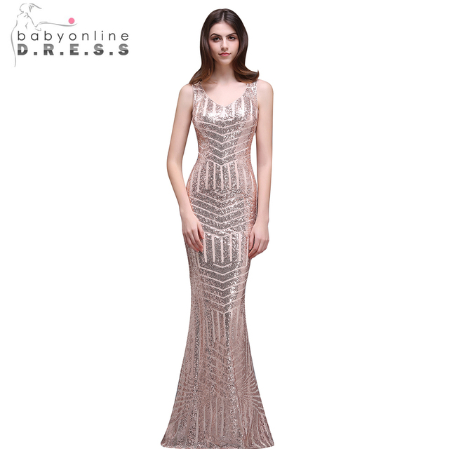 Babyonline Y V Neck Rose Gold Mermaid Sequin Prom Dresses Long 2017 Sheer Back Formal