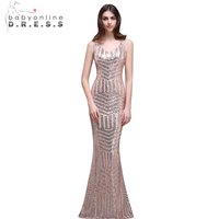 Babyonline Sexy V Neck Rose Gold Mermaid Sequin Prom Dresses Long 2017 Sheer Back Formal Party