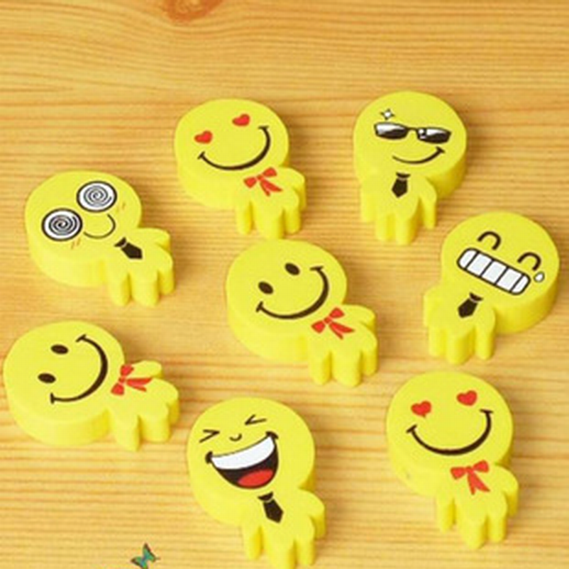 DHL Free Shipping,Wholesale 500pcs Smile Face Rubber Eraser Yellow Color Office Stationary