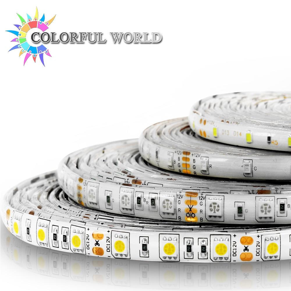 5M LED strip 3528 5050 60pcs/m DC12V LED Light RGB Cold white yellow red green blue Warm white 5050 led light strip 10mm connectors white black red 2 pcs