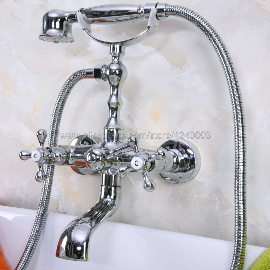 Wall Mounted Chrome Bathtub Faucet Double Handle Brass Mixer Tap Bath & Shower Faucets Kna185Wall Mounted Chrome Bathtub Faucet Double Handle Brass Mixer Tap Bath & Shower Faucets Kna185