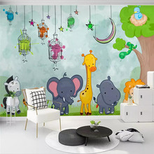 Modern minimalist hand drawn cartoon animal world childrens room mural background professional custom photo wallpaper