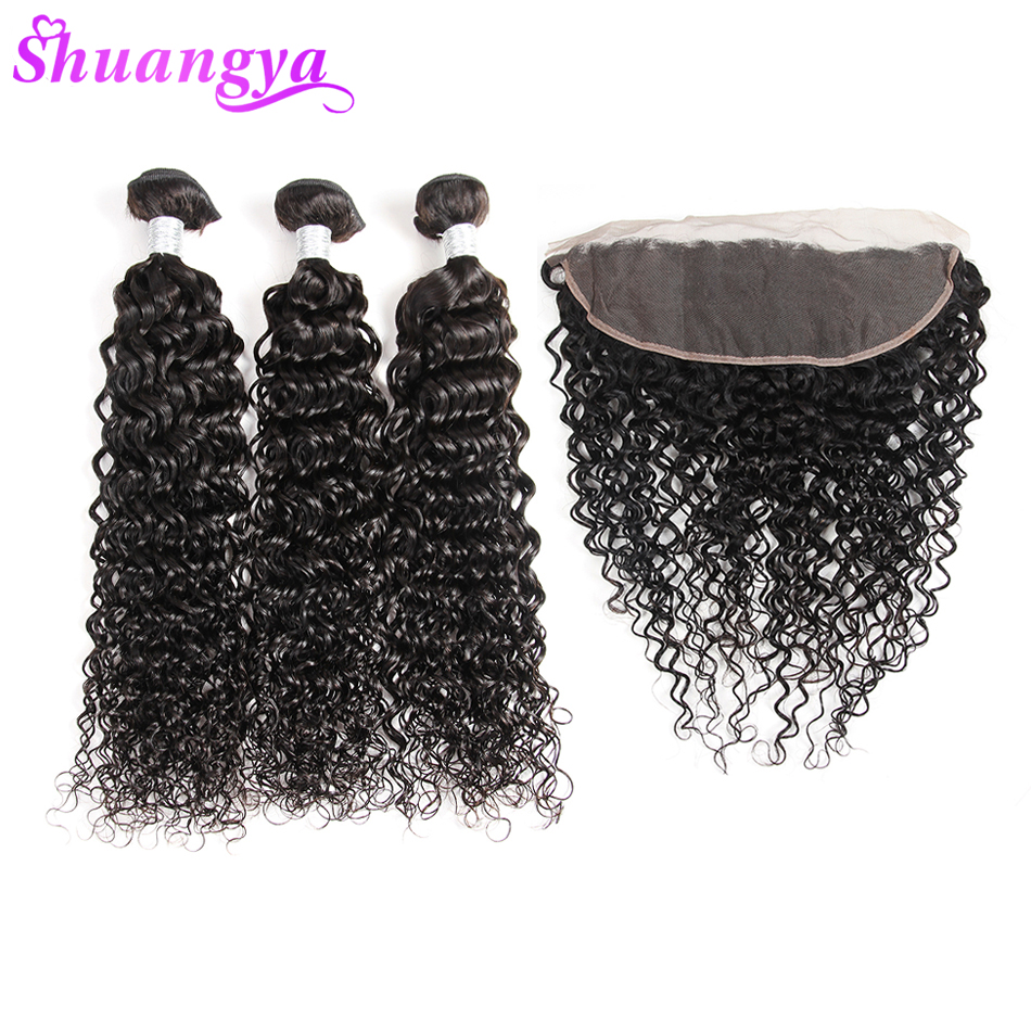 100% Human Hair Water Wave Bundles With Frontal Malaysian Hair Weave 3/4 Bundles With Frontal Shuangya Remy Hair Extensions