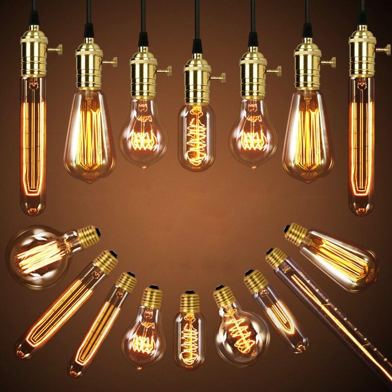 Edison Bulb Luminaria Retro Lamp Bombilla Industrial Vintage Lampada ST64 G80 220V 40W E27 Deco Antique Bulbs Filament Lighting