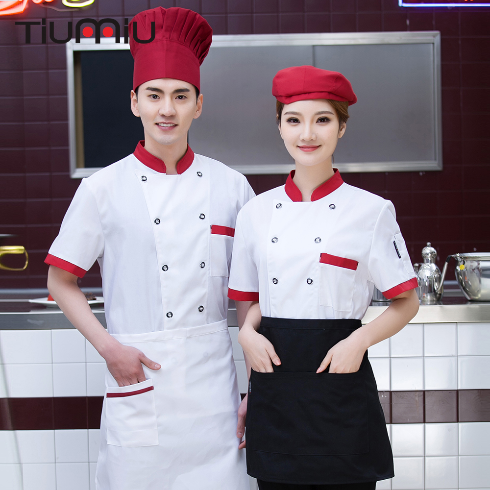 4 Colors M-4XL Patchwork Women Men Short-sleeve Double Breasted Kitchen Work Uniform Coffee Sushi Bar Bakery Canteen Chef Jacket