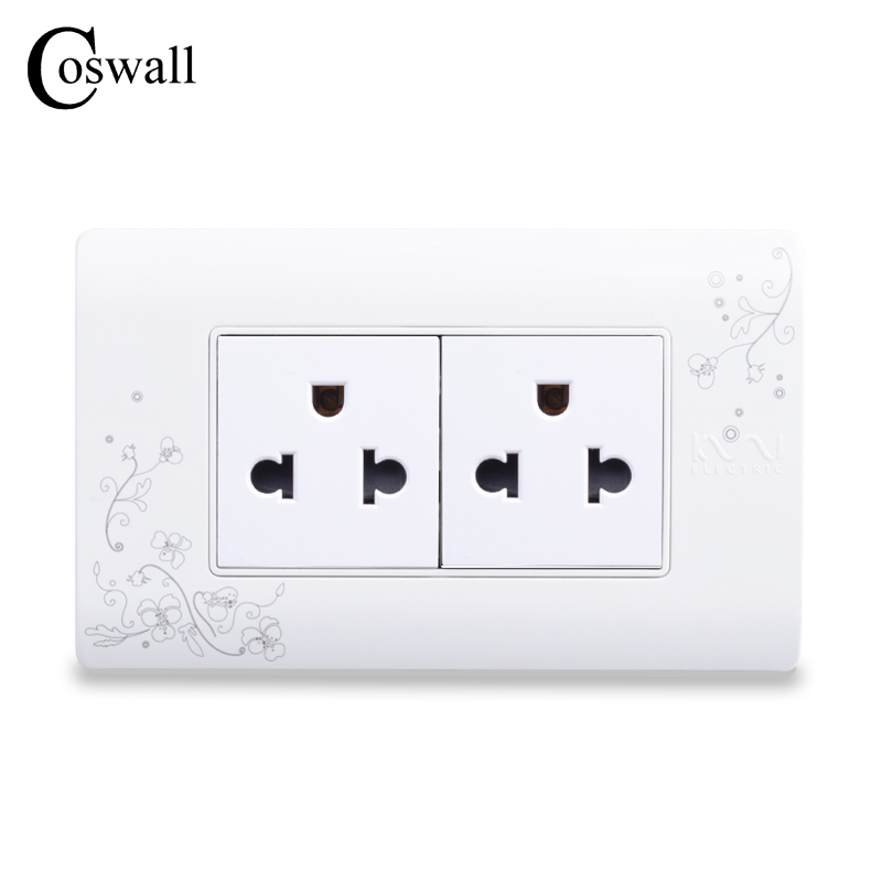 COSWALL 2 Way Electrical Socket US / Thailand Standard Plug,Simple Style Wall Electrical Outlet With Child Protective DoorCOSWALL 2 Way Electrical Socket US / Thailand Standard Plug,Simple Style Wall Electrical Outlet With Child Protective Door