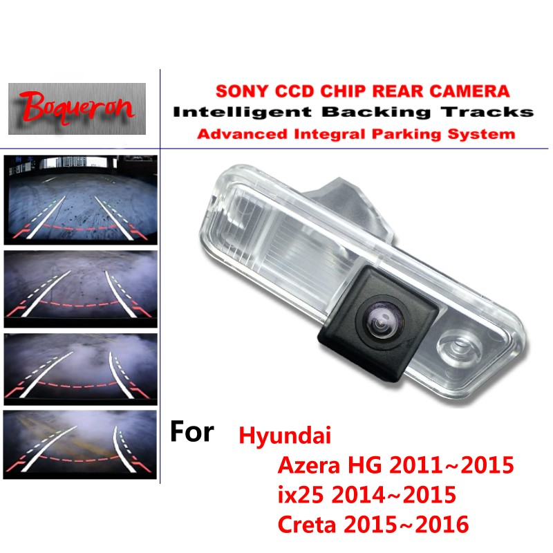 for Hyundai Azera HG ix25 Creta 2011~2016 CCD Car Backup Parking Camera Intelligent Tracks Dynamic Guidance Rear View Camera