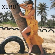 XURU New Summer Women's Dress V-neck Halter Slim Bow Tie Dress Bohemian Seaside Beach Sling Long Dress S-2XL