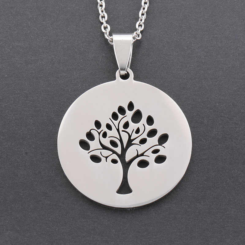 Classic stainless steel silver life tree men's necklace exquisite fashion pendant jewelry best gift for men and women ST553