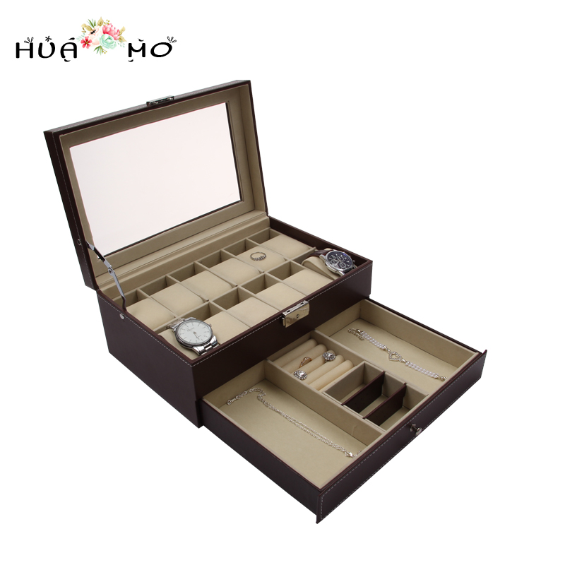 Glasses Watches Organizer Leather Watch Display Box Jewelry Gift Box Jewelry Jewelry Packaging & Display Accessories Supplies ebaycoco luxurious red jewelry accessories packaging black red matte 10table box jewelry box fashion display full box watch