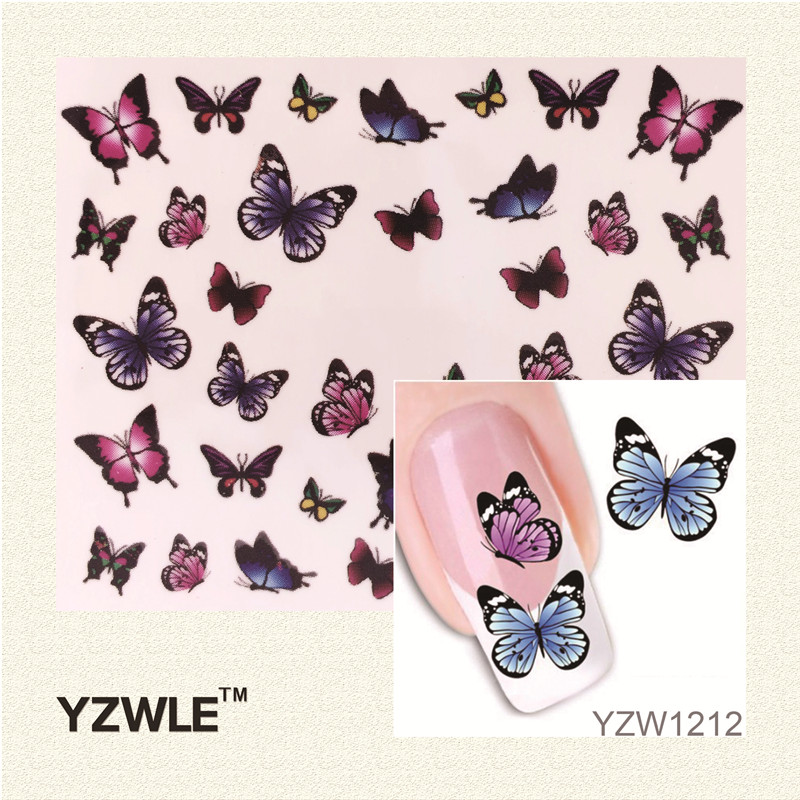 YZWLE Fashion Cute DIY Watermark Butterflies Tip Nail Art, Nail Sticker & Decal Manicure Nail Tools yzwle 3d french style white lace bow nail art sticker decal manicure tip nail art decoration xf ju079