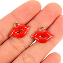 TJP 10pcs Gold Enamel Red Lips Mouth Charms Pendants for Earrings DIY Jewelry Making Findings 19x13mm