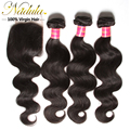 7A  Middle Part and Free Part Lace Closure with bundles indian Body Wave with closure 4pcs indian Virgin Hair with closure