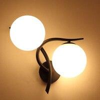 Moderno E Minimalista Quarto Lâmpada Lâmpada de Cabeceira de Parede Dupla Cabeça Criativa Sala Luminarias De Espelho Interior Ouro Negro Levou Luz de Parede
