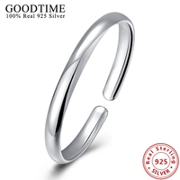 Classic Simple Design 925 Sterling Silver Smooth bangles Women's Fashion Jewelry Open Cuft Solid Silver Bracelets Bangles GTB109