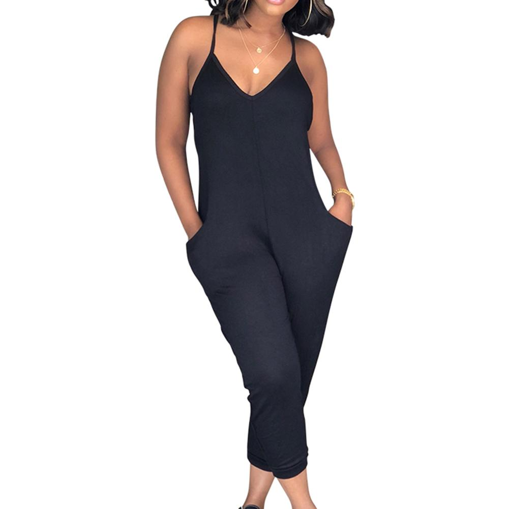 Summer Women Solid Color V Neck Sleeveless   Jumpsuit   Loose Romper with Pockets