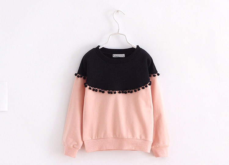 HTB1tT50IpXXXXbgXpXXq6xXFXXXz - Children Girls shirt tops 2017 Spring Fashion Color patched 100% cotton knitted Snow Ball long-sleeved loose shirts for girls