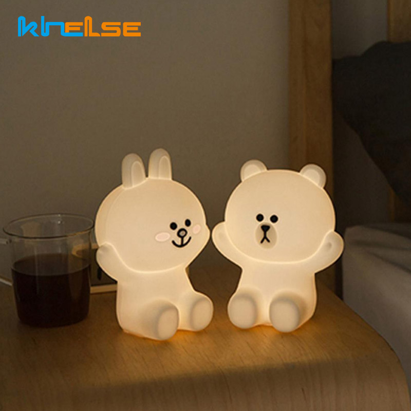 Cute Brown Bear Cony Rabbit Touch Control LED Night Light USB Charging Silicone Bedside Lamp Bedroom Lamp Kids Christmas Gifts