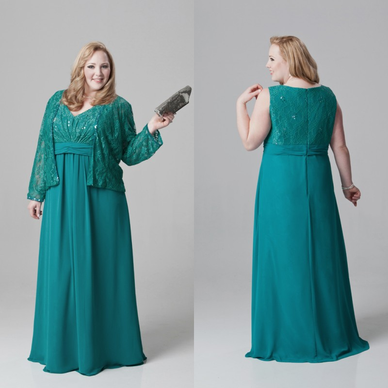 Teal Plus Size Long V Neck Mother Of The Bride Dresses with Jacket ...