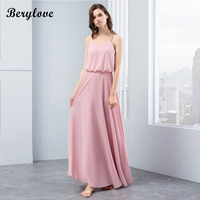BeryLove Simple Blush Pink Bridesmaid Dresses 2018 Chiffon Long Bridesmaid Dress Beach Wedding Party Dresses On Beach For Prom