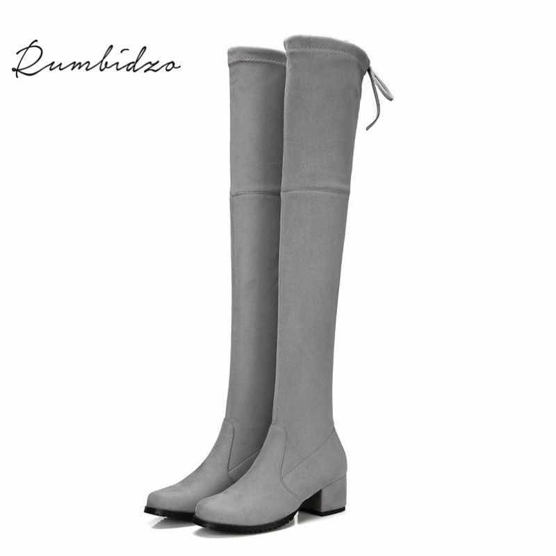 Rumbidzo แฟชั่นผู้หญิงบู๊ทส์ 2018 กว่าเข่าสูงบู๊ทส์สลิมหนาส้นลูกไม้ขึ้นรอบนิ้วเท้า 4.5 เซนติเมตรส้นผู้หญิง Bootie