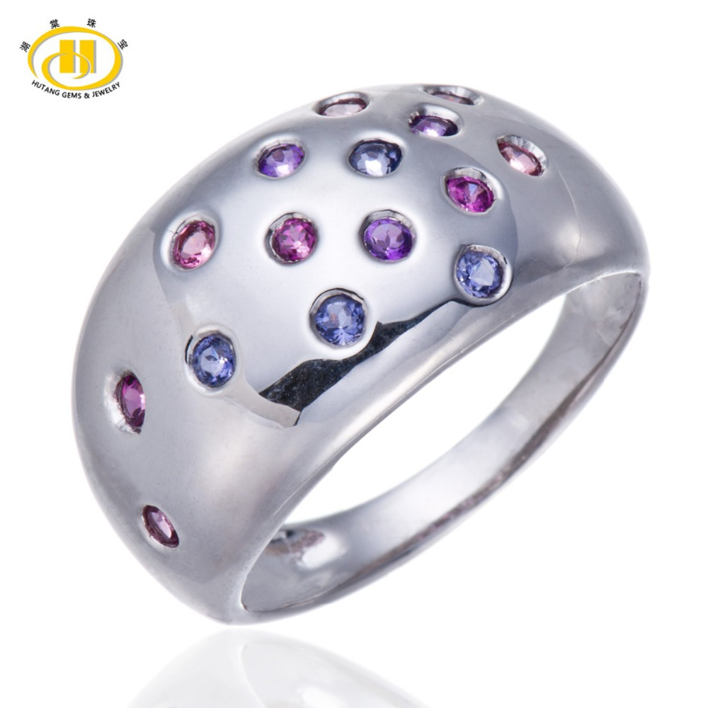 Hutang Genuine Multi Color Gemstones Solid 925 Sterling Silver Ring Tanzanite Iolite Amethyst Tourmaline Womens Fine Jewelry
