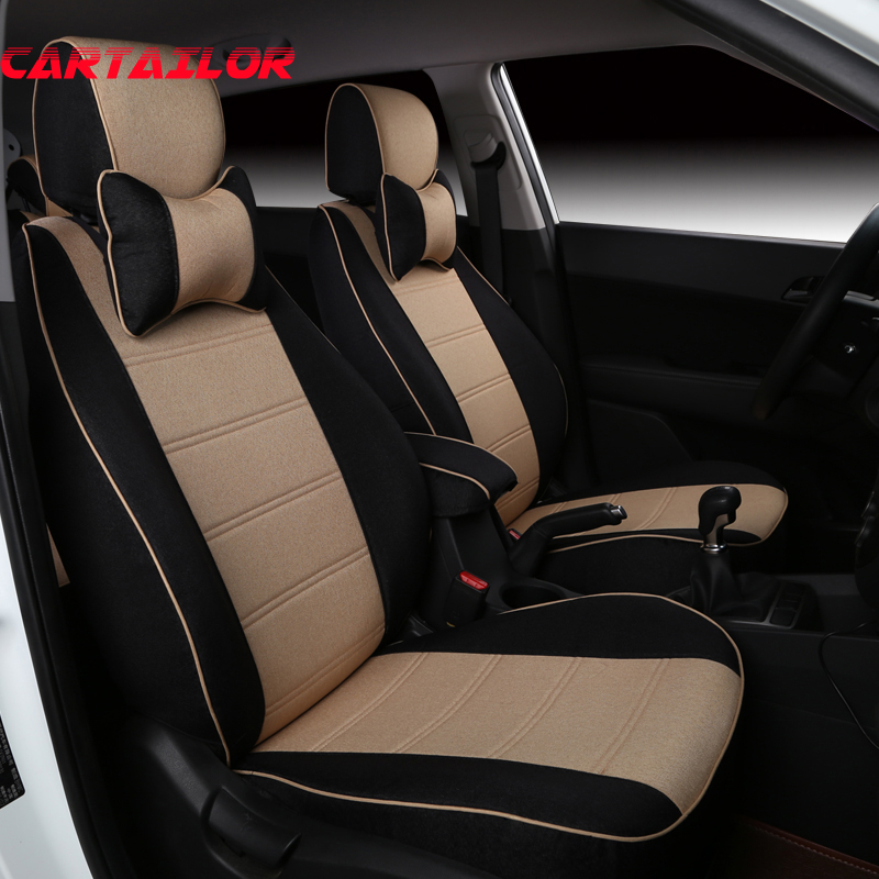 CARTAILOR Linen Seat Covers for Volkswagen VW UP Car Seat Cushions Cusotm Fit Seat Cover Set Black Cover Seats Protection Airbag