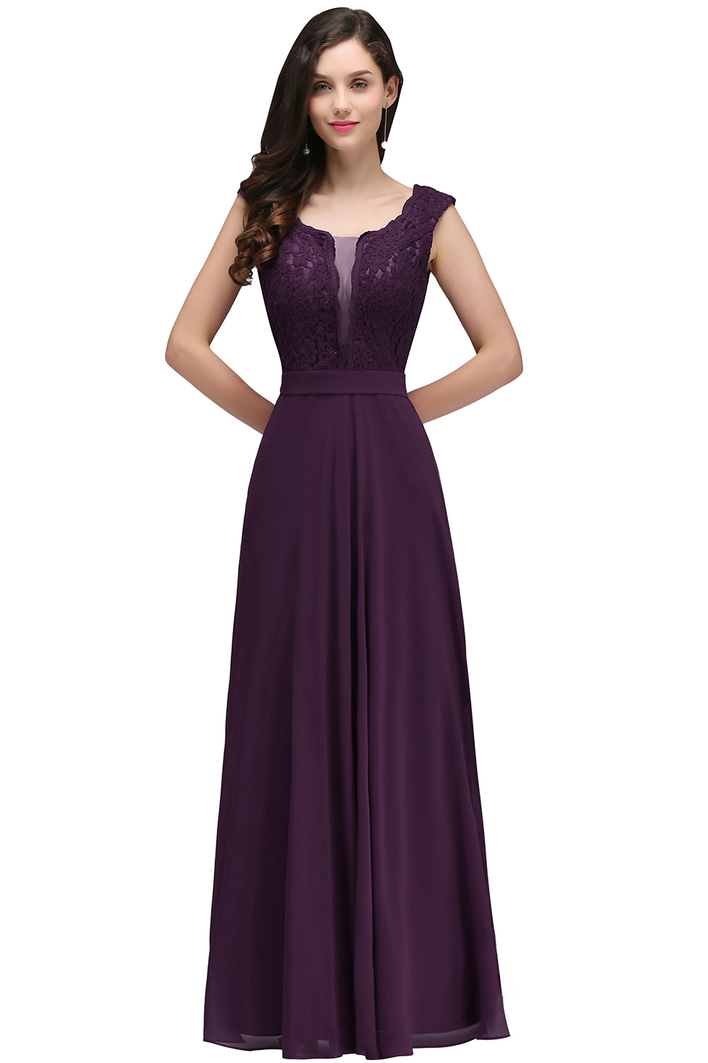 2019 Burgundy Chiffon Long Prom Dresses Scoop Neck Sleeveless Prom Gown Vestidos de gala in Prom Dresses from Weddings Events
