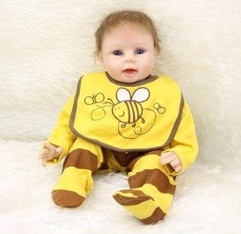 22inch Reborn Baby Doll Toys Lifelike  55cm Newborn babies Doll bedtime playmate doll stylish Birthday Gift Girls Brinquedos