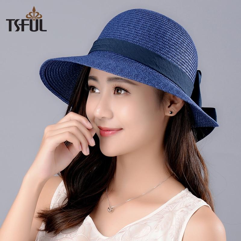 Lady New Sun Hat Girl Summer Straw Sun Cap Wide Brim Girls Outside Sun Beach Cap Students Leisure Tavel Hat Foldable B-8026