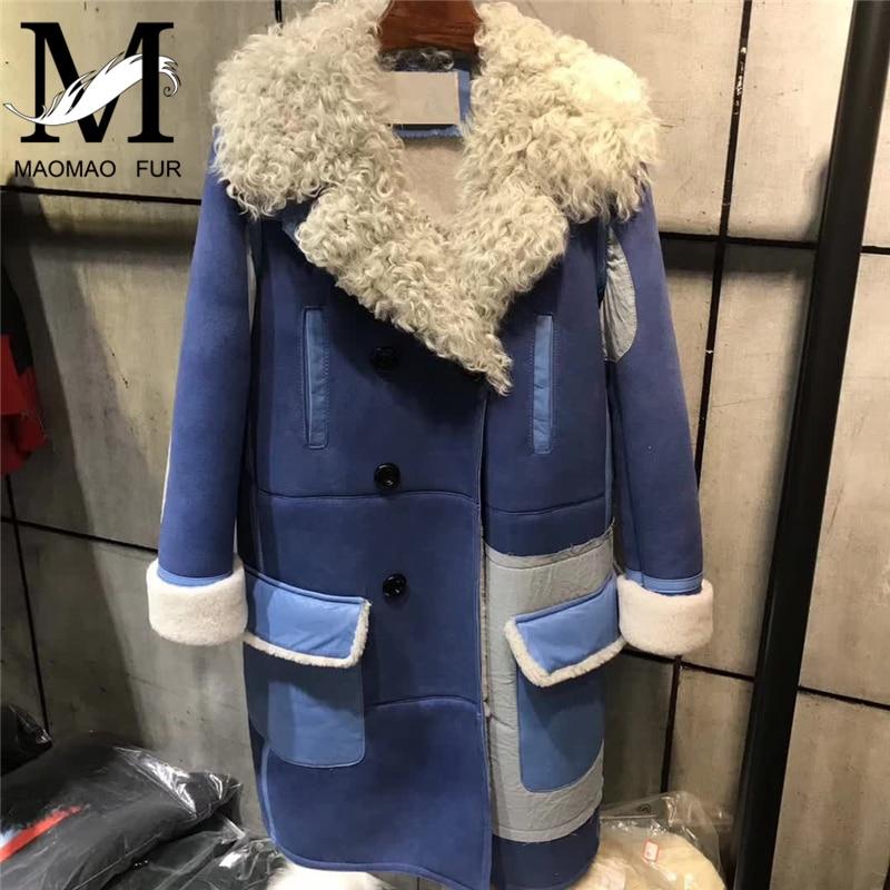 Women Real Sheepskin Shearling Coat New Warm Thick Leather Jacket Motorcycle Lamb Fur Collar Coats