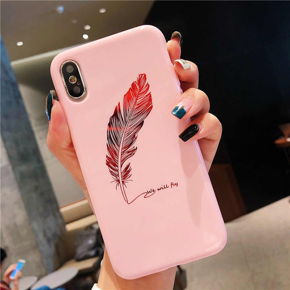 Heyytle Bling Feather Phone Case For iPhone XR XS MAX X 7 8 6 6s Plus Plating Gold Case 8plus Ultra Slim Soft Silicon Back Cover