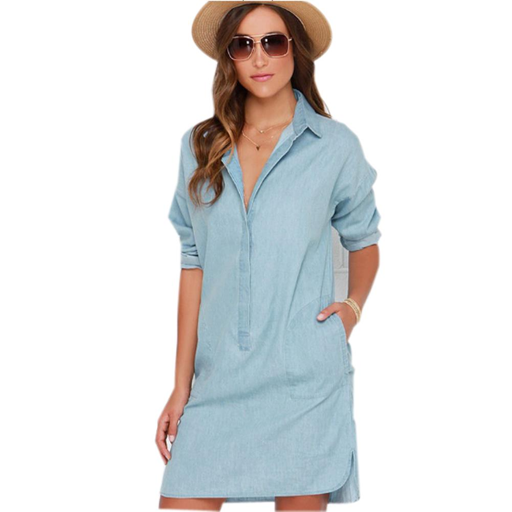 Autumn plus size casual women dress long sleeve blue denim Women s long sleeve shirt dress