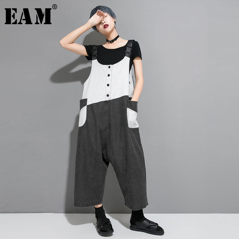 EAM 2019 New Spring Summer High Waist Hit Color Pocket Split Joint Loose Pants Women