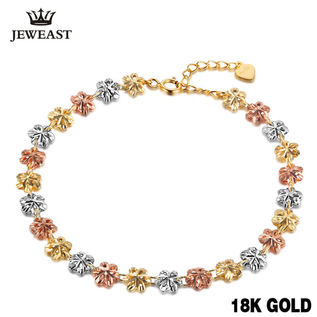 18k Pure Gold Bracelet 750 Bangle Rose Fashion Cherry Classic Women Girl Hot Selling Party Chain & Link Bracelets Multi-tone