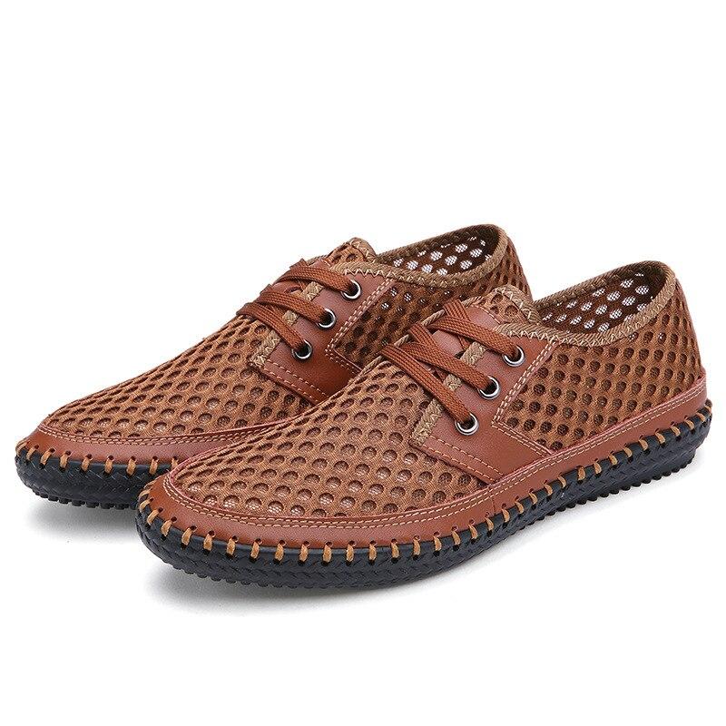 Mode en plein air chaussures pour hommes été respirant maille chaussures décontractées doux confortable à lacets hommes Fisheman chaussures confortable grande taille - 3