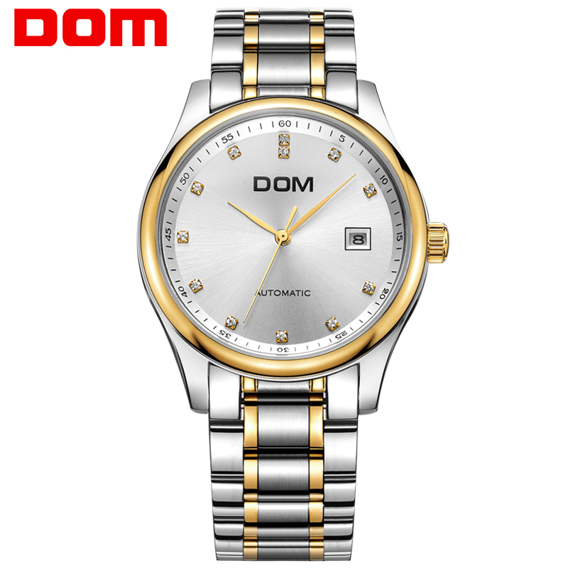 DOM Men Watches Stainless Steel Wristwatch Mechanical Watch Mens Luxury Brand Waterproof Clock Luxury Reloj Hombre M-95G-7M automatic mechanical mens watches luxury tourbillon clock top brand gold men wristwatch stainless steel watch band reloj hombre
