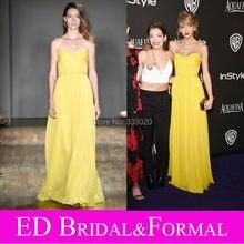 Taylor Gelb Abendkleid an Golden Globes Nach Partei Eine Linie Schatz-chiffon-Jenny Packham Promi Formale Abendkleid