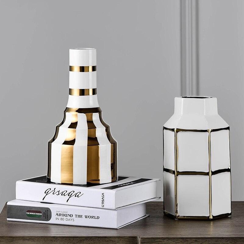 Noir et blanc carré treillis Vase artisanat moderne créatif décoration de la maison hôtel en céramique Vase fleur ornement cadeau de mariage