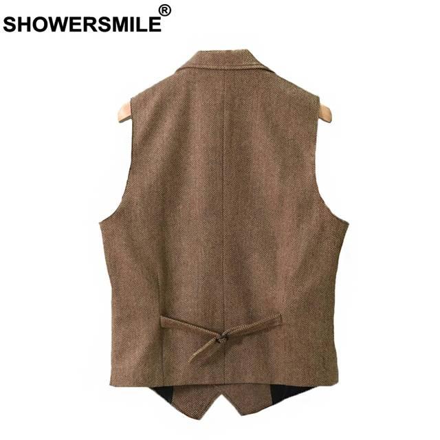 11504c60c37 US $38.15 47% OFF|SHOWERSMILE Vintage Tweed Vest Herringbone Striped Suit  Vest Light Brown Waistcoat Vest Slim Fit Sleeveless Jacket Gilet Homme-in  ...
