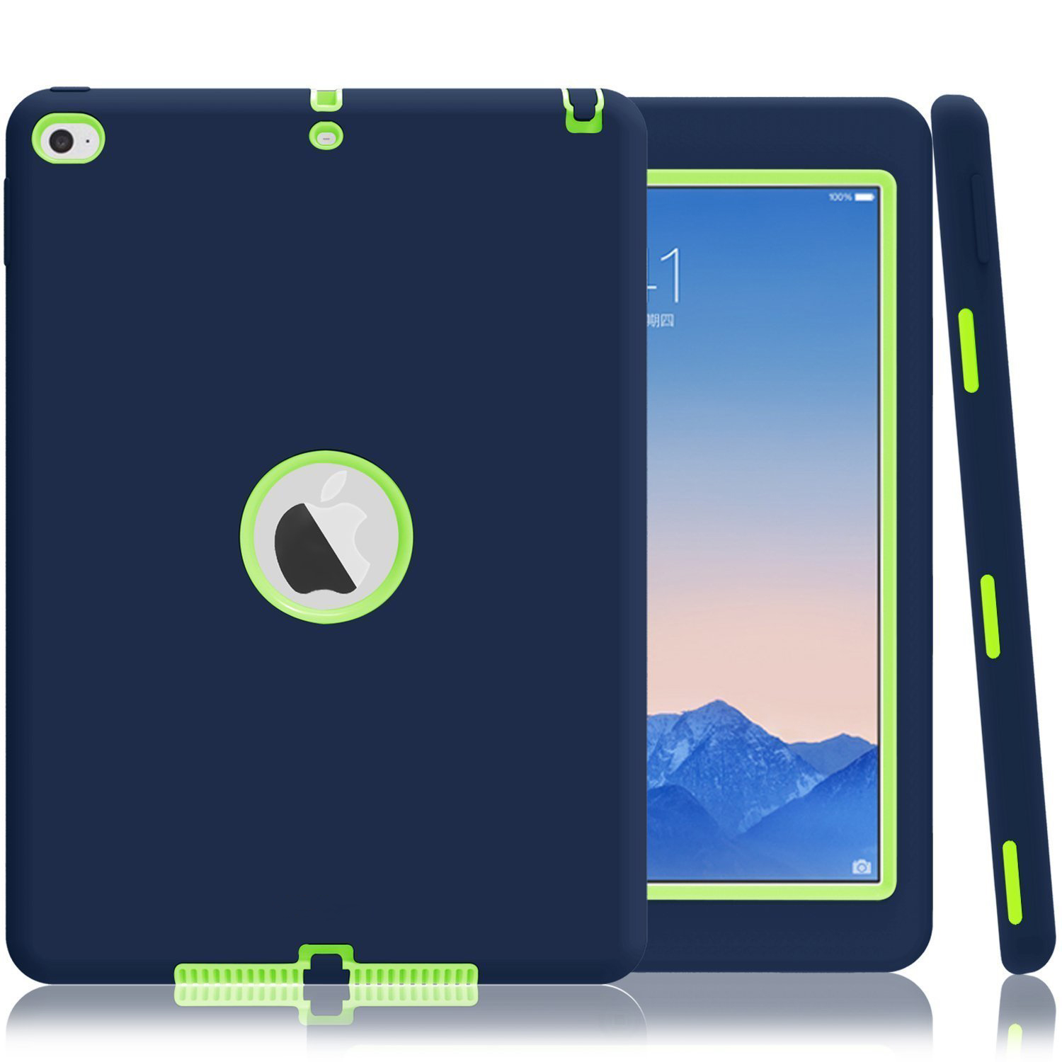 For iPad Air 2 Case A1566/A1567 Retina Kids Baby Safe Armor Shockproof Heavy Duty Silicone Hard Cover with Screen Protector Film