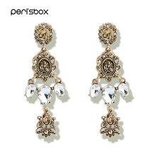 Peri sbox Antique Gold Color Rhinestone Long Drop Earrings for Women  Vintage Baroque Metal Earrings Gothic Chandelier Earrings 6a2b2627b3d6